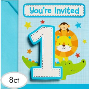 Blue One is Fun 1st Birthday Invitations 8ct