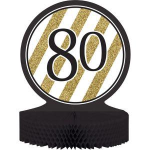 White & Gold Stripe 80 Honeycomb Centerpiece