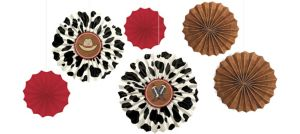 Yeehaw Western Paper Fan Decorations 6ct