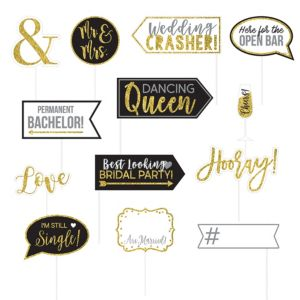 Glitter Gold Wedding Photo Booth Props 13ct