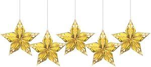 Metallic Gold Star Decorations 5ct