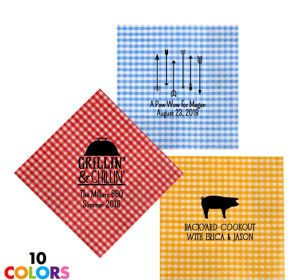 Personalized Summer Gingham Lunch Napkins