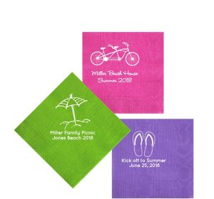 Personalized Summer Moire Beverage Napkins
