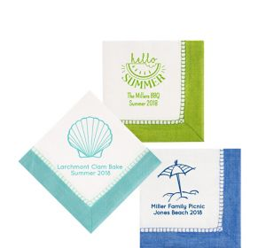 Personalized Summer Bordered Beverage Napkins