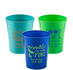 Personalized Summer Plastic Stadium Cups 16oz