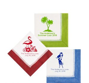 Personalized Luau Bordered Beverage Napkins