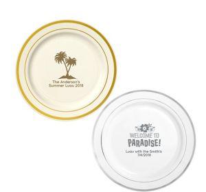 Personalized Luau Trimmed Premium Plastic Dinner Plates