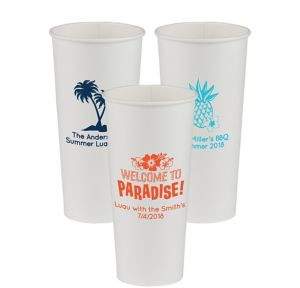 Personalized Luau Paper Cups 24oz