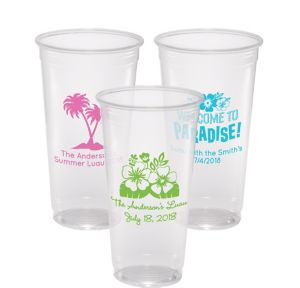 Personalized Luau Plastic Party Cups 24oz