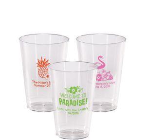Personalized Luau Hard Plastic Cups 14oz