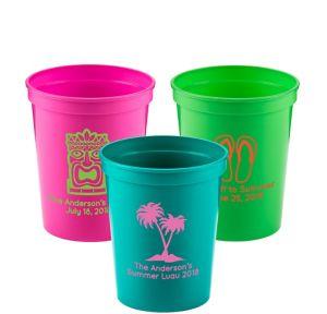 Personalized Luau Plastic Stadium Cups 16oz