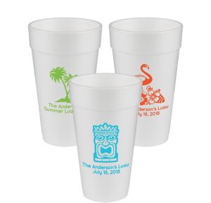 Personalized Luau Foam Cups 20oz