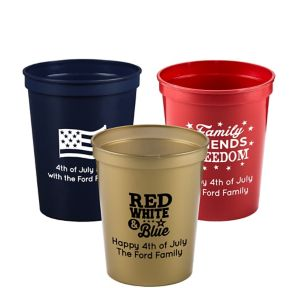 Personalized 4th of July Plastic Stadium Cups 16oz