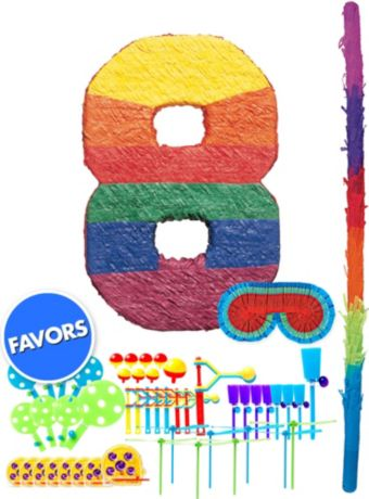 Rainbow Number 8 Pinata Kit with Favors