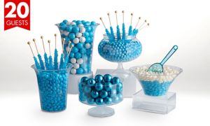 Caribbean Blue Deluxe Candy Buffet Kit with Containers for 20 Guests
