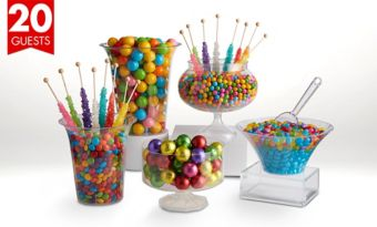 Rainbow Deluxe Candy Buffet Kit with Containers for 20 Guests