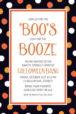 Custom Polka Dot Halloween Invitation