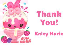 Custom Striped Num Noms Thank You Note