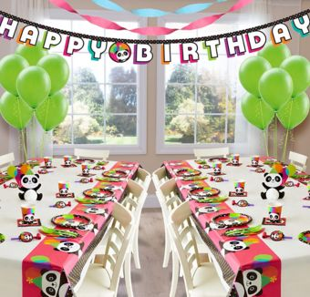 Panda Deluxe Party Kit for 16 Guests