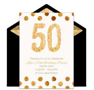 Online Golden 50 Invitations