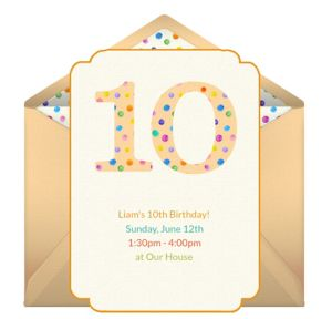 Online 10th Birthday Dots Invitations