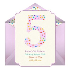 Online 5th Birthday Dots Girl Invitations