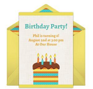Online Summer Birthday Cake Invitations