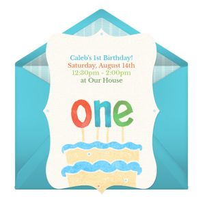 Online First Birthday Cake - Blue Invitations