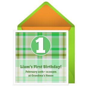 Online 1st Birthday Plaid - Green Invitations
