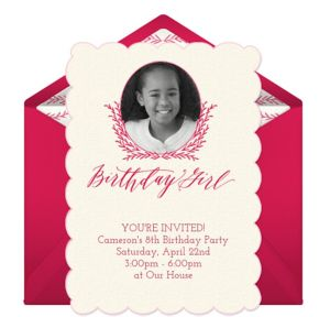 Online Birthday Girl Photo Invitations