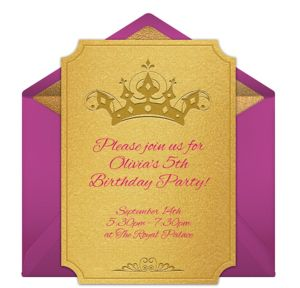Online Princess Crown Invitations