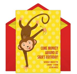 Online Baby Monkey Invitations