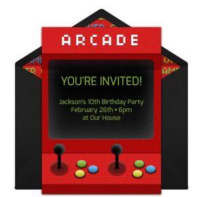 Online Arcade Machine Invitations