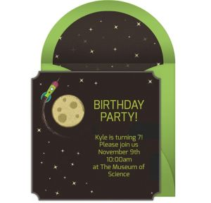 Online Moon Rocket Invitations