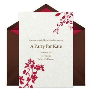Online Embossed Flowers - Tan Invitations
