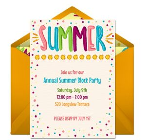 Online Summer Party Invitations