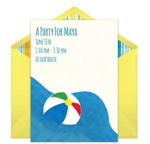 Online Jumbo Beach Ball Invitations