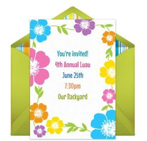 Online Summer Luau Invitations