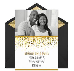 Online Gold Glitter Photo Invitations