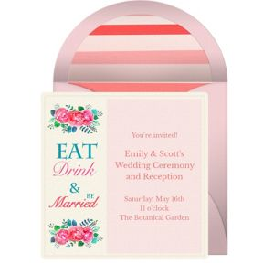 Online Eat Drink Be Married Invitations