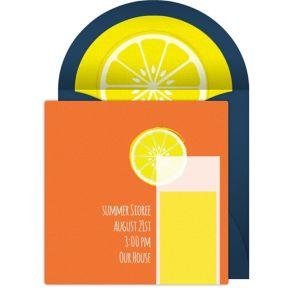 Online Summer Lemonade - Orange Invitations