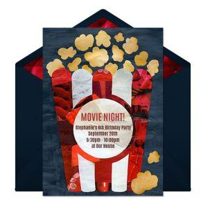 Online Movie Night - Blue Invitations