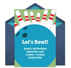 Online Bowling Night - Blue Invitations