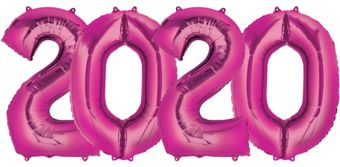 Giant Pink 2017 Number Balloons 4pc