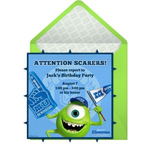 Online Monsters University Invitations