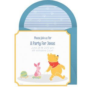 Online Winnie the Pooh Blue Invitations