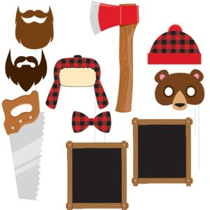 Lumberjack Photo Booth Props 10ct