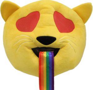Oversized Heart Eyes Cat with Rainbow Tongue Mask