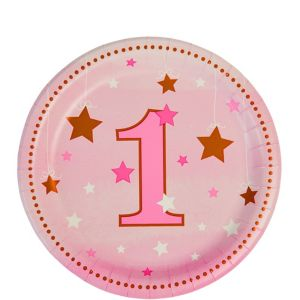 Pink Twinkle Twinkle Little Star 1st Birthday Dessert Plates 8ct