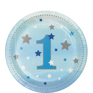 Blue Twinkle Twinkle Little Star 1st Birthday Dessert Plates 8ct